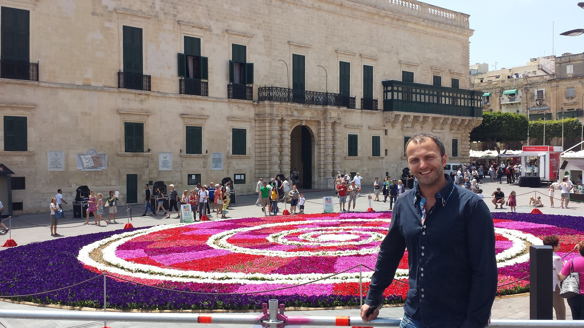 Creator of the infiorata's design Daniel Mercieca with the finished product.
