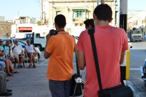 Snapping photos outside the Kazin