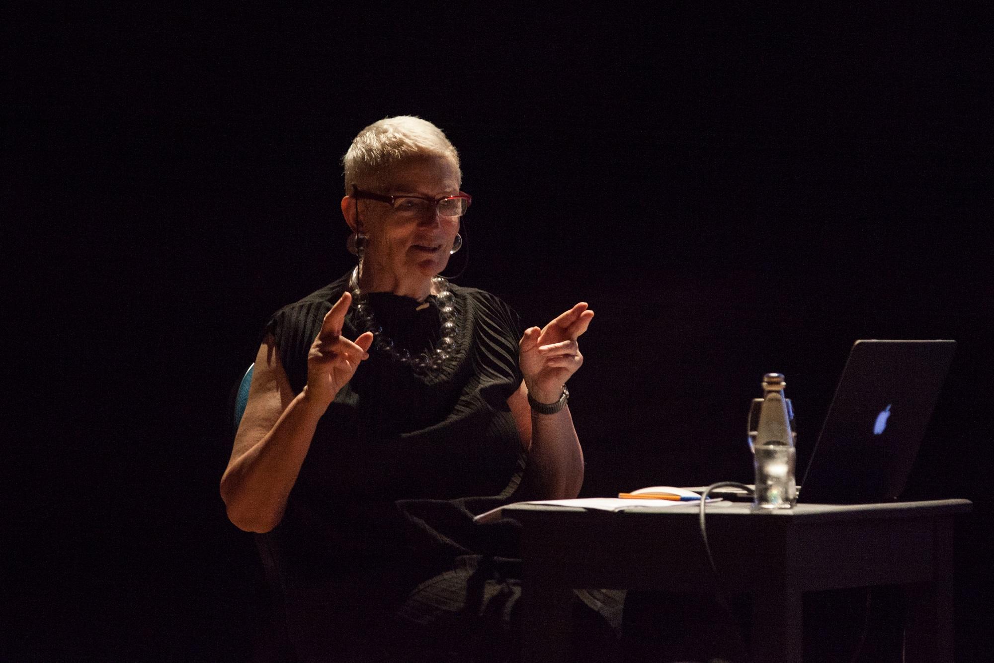 Mieke Bal giving a talk at last year's edition of VIVA. Photo: Elisa von Brockdorff