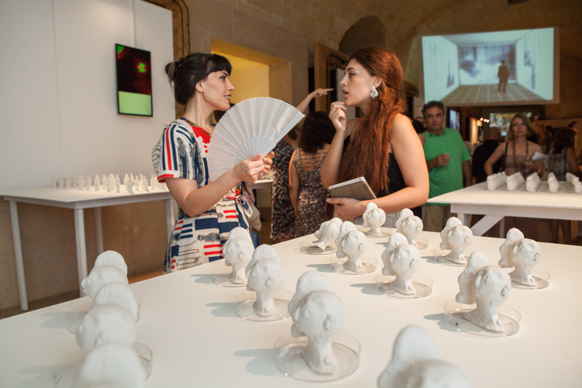Discussions at the Culture of Ageing exhibit. VIVA 2015. Photo credit: Elisa von Brockdorff