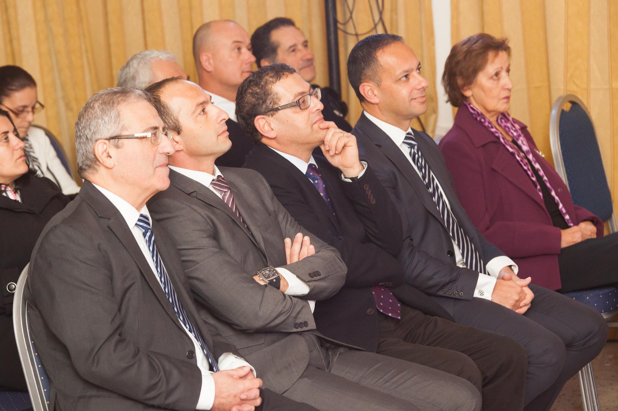 Enjoying the show. From left to right: Minister of Education Evarist Bartolo, Head of School Bernardo Riolo, Principal James Camilleri, Valletta 2018 Chairman Jason Micallef and School Council President Lilian Azzopardi