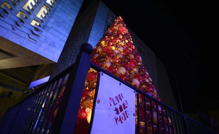 Glass Christmas Tree Lights Up Valletta