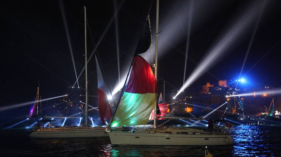 The Valletta Pageant of the Seas Lights Up the Grand Harbour by Night
