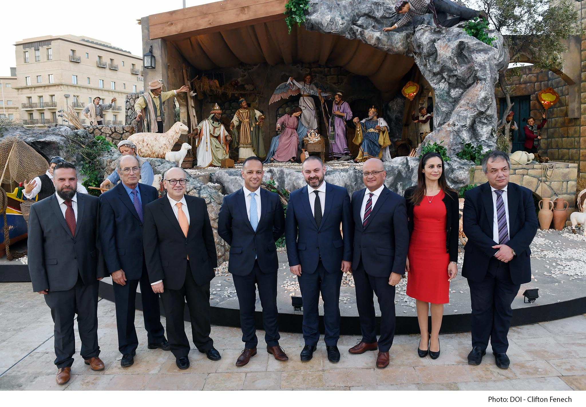 Minister for Justice, Culture and Local Government Owen Bonnici and Parliamentary Secretary for Consumer Protection and Valletta 2018 Deo Debattista participate in a press conference to launch the Christmas Crib